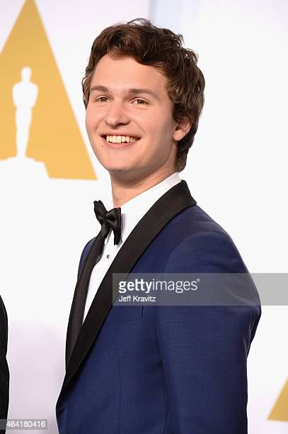Actor Ansel Elgort poses in the press room during the 87th Annual Academy Awards at Loews Hollywood Hotel on February 22 2015 in Hollywood California
