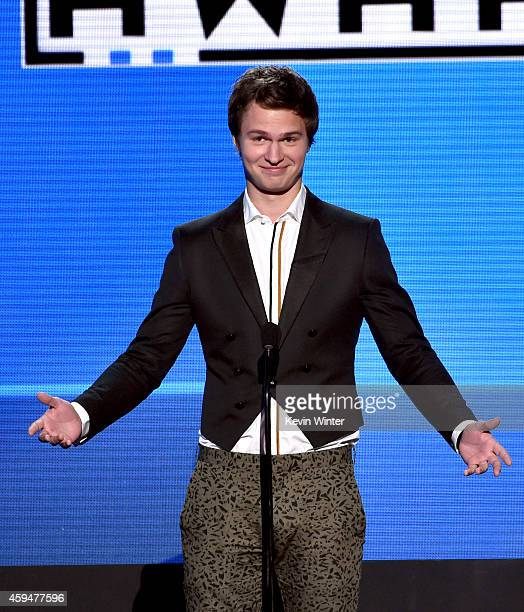 Actor Ansel Elgort speaks onstage at the 2014 American Music Awards at Nokia Theatre L.A. Live on November 23, 2014 in Los Angeles, California.
