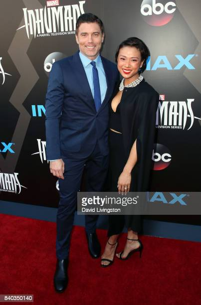 Actor Anson Mount and Darah Trang attend the premiere of ABC and Marvel's 'Inhumans' at Universal CityWalk on August 28 2017 in Universal City...
