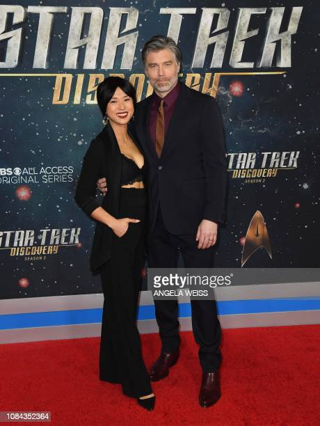 Actor Anson Mount and his wife Darah Trang attend the Star Trek Discovery Season 2 Premiere at Conrad New York on January 17 2019 in New York City