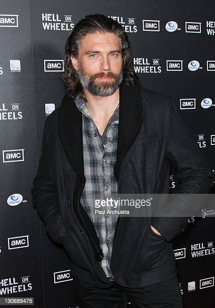 Actor Anson Mount attends AMC's new series Hell On Wheels premiere party at LA LIVE on October 27 2011 in Los Angeles California