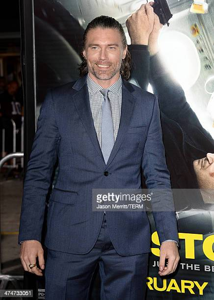 Actor Anson Mount attends the premiere of Universal Pictures and Studiocanal's 'NonStop' at Regency Village Theatre on February 24 2014 in Westwood...