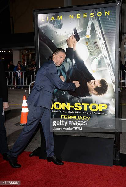 Actor Anson Mount attends the premiere of Universal Pictures and Studiocanal's NonStop at Regency Village Theatre on February 24 2014 in Westwood...