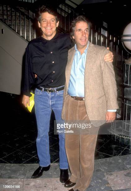 Actor Anson Williams and Actor Henry Winkler attend the 'Cop and ½' Universal City Premiere on March 28 1993 at the Cineplex Universal City 18...