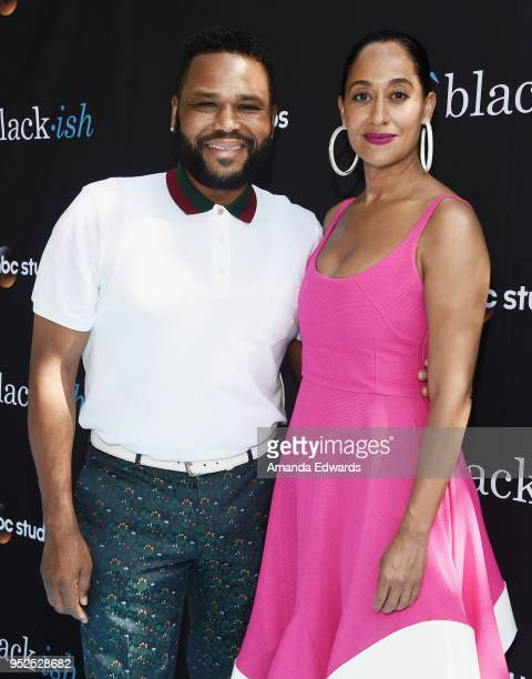 Actor Anthony Anderson and actress Tracee Ellis Ross arrive at the FYC Event for ABC's 'Blackish' at Walt Disney Studios on April 28 2018 in Burbank...