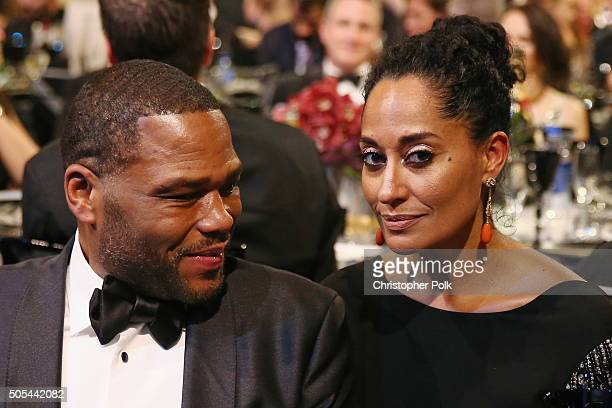 Actor Anthony Anderson and actress Tracee Ellis Ross attend the 21st Annual Critics' Choice Awards at Barker Hangar on January 17 2016 in Santa...