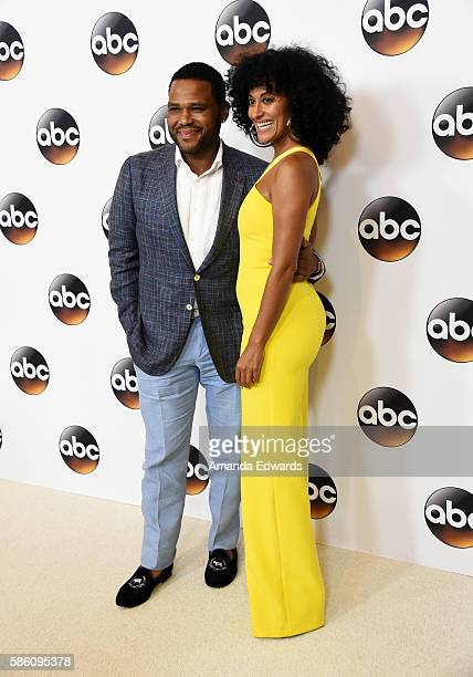 Actor Anthony Anderson and actress Tracee Ellis Ross attend the Disney ABC Television Group TCA Summer Press Tour on August 4, 2016 in Beverly Hills,...