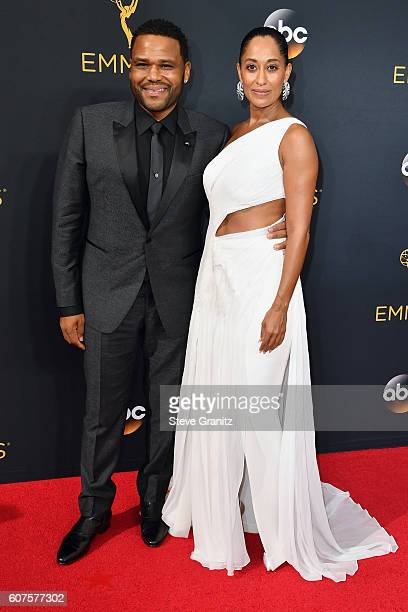 Actor Anthony Anderson and actress Tracee Ellis Ross attends the 68th Annual Primetime Emmy Awards at Microsoft Theater on September 18 2016 in Los...