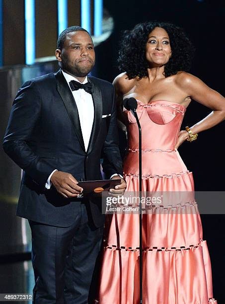 Actor Anthony Anderson and actress Tracee Ellis Ross speak onstage during the 67th Annual Primetime Emmy Awards at Microsoft Theater on September 20...