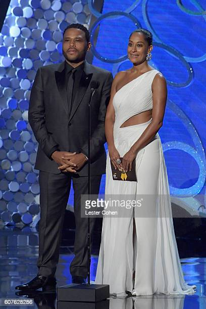 Actor Anthony Anderson and actress Tracee Ellis Ross speak onstage during the 68th Annual Primetime Emmy Awards at Microsoft Theater on September 18...