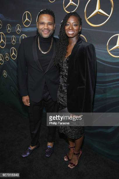 Actor Anthony Anderson and Alvina Stewart attend MercedesBenz USA Official Awards Viewing Party at Four Seasons Beverly Hills CA on March 4 2018 in...