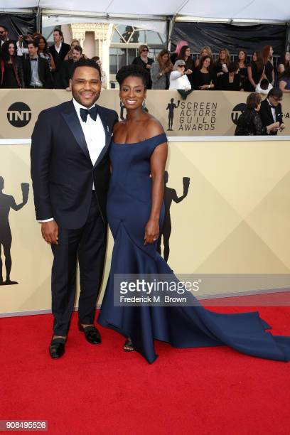 Actor Anthony Anderson and Alvina Stewart attend the 24th Annual Screen Actors Guild Awards at The Shrine Auditorium on January 21 2018 in Los...