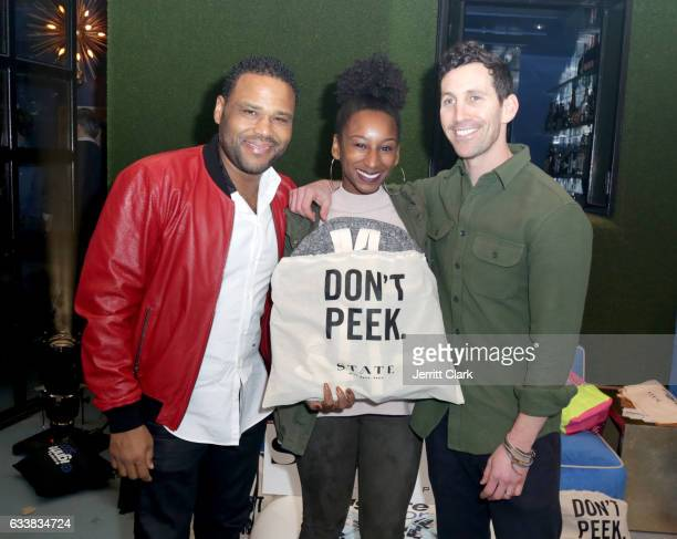 Actor Anthony Anderson and Alvina Stewart attend Turner Ignite Sports Luxury Lounge on February 4 2017 in Houston Texas