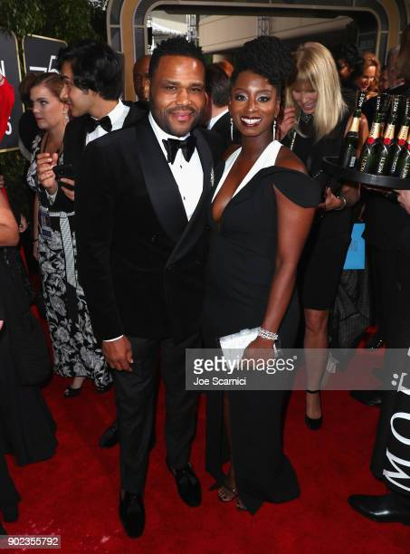 Actor Anthony Anderson and Alvina Stewart celebrate The 75th Annual Golden Globe Awards with Moet Chandon at The Beverly Hilton Hotel on January 7...