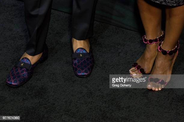 Actor Anthony Anderson and Alvina Stewart fashion detail attend the MercedezBenz USA's Official Awards Viewing Party at Four Seasons Hotel Los...