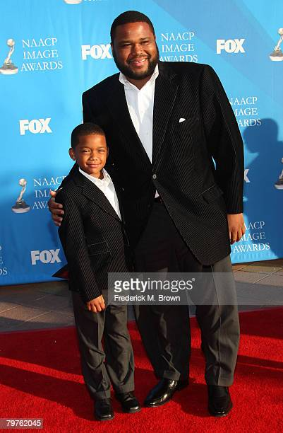 Actor Anthony Anderson and guest arrive at the 39th NAACP Image Awards held at the Shrine Auditorium on February 14 2008 in Los Angeles California