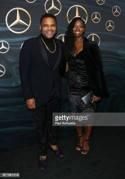 Actor Anthony Anderson and his Wife Alvina Stewart attend MercedezBenz USA's official Awards viewing party at The Four Seasons Hotel Los Angeles at...