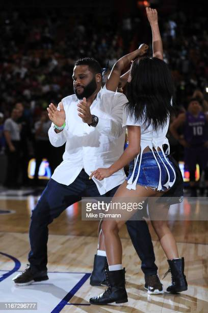 Actor Anthony Anderson dances during week eight of the BIG3 three on three basketball league at AmericanAirlines Arena on August 10, 2019 in Miami,...