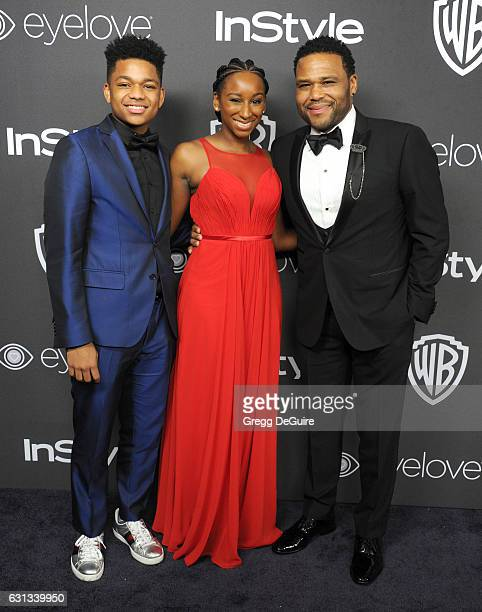 Actor Anthony Anderson Kyra Anderson and Nathan Anderson arrive at the 18th Annual PostGolden Globes Party hosted by Warner Bros Pictures and InStyle...