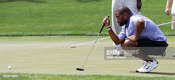 bf52bfc599 Actor Anthony Anderson lines up a putt during ARIA Resort Casino's Michael  Jordan Celebrity Invitational golf. ARIA Resort & Casino's 12th Annual ...