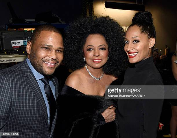 Actor Anthony Anderson singer Diana Ross and actress Tracee Ellis Ross attend the 2014 American Music Awards at Nokia Theatre LA Live on November 23...