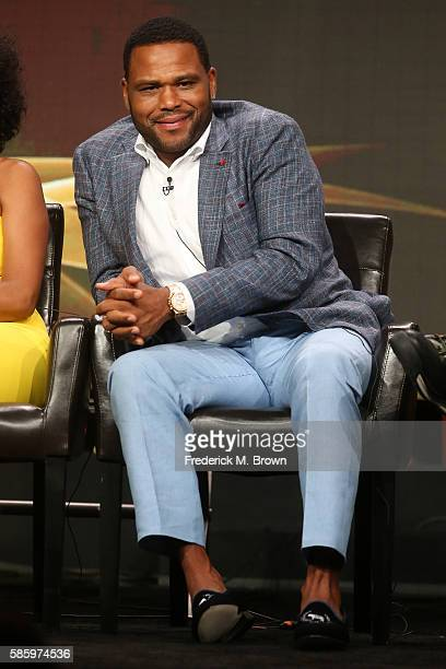 Actor Anthony Anderson speaks onstage at the 'Blackish' panel discussion during the Disney ABC Television Group portion of the 2016 Television...