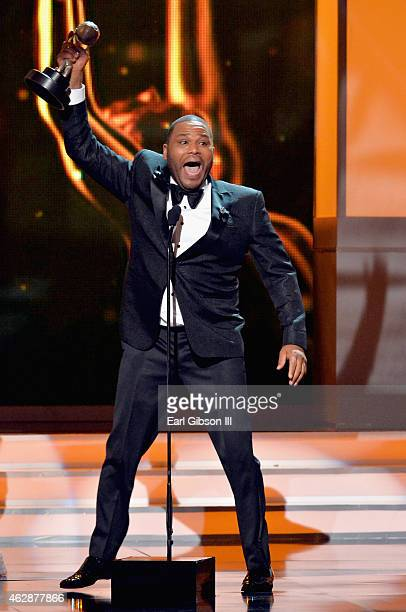 Actor Anthony Anderson winner of the award for Outstanding Actor in a Comedy Series speaks onstage at the 46th Annual NAACP Image Awards on February...