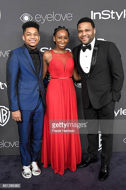 Actor Anthony Anderson with Nathan Anderson and Kyra Anderson attend the 18th Annual PostGolden Globes Party hosted by Warner Bros Pictures and...