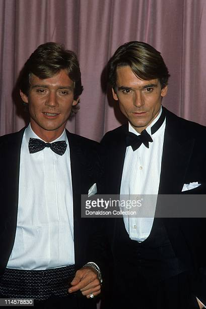 Actor Anthony Andrews and Actor Jeremy Irons pose for a portrait in circa 1985 in Los Angeles California