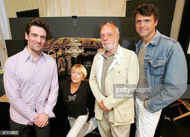 Actor Anthony Crivello choreographer Gillian Lynne director Hal Prince and actor Brent Barrett pose in front of a model of the new theater being...