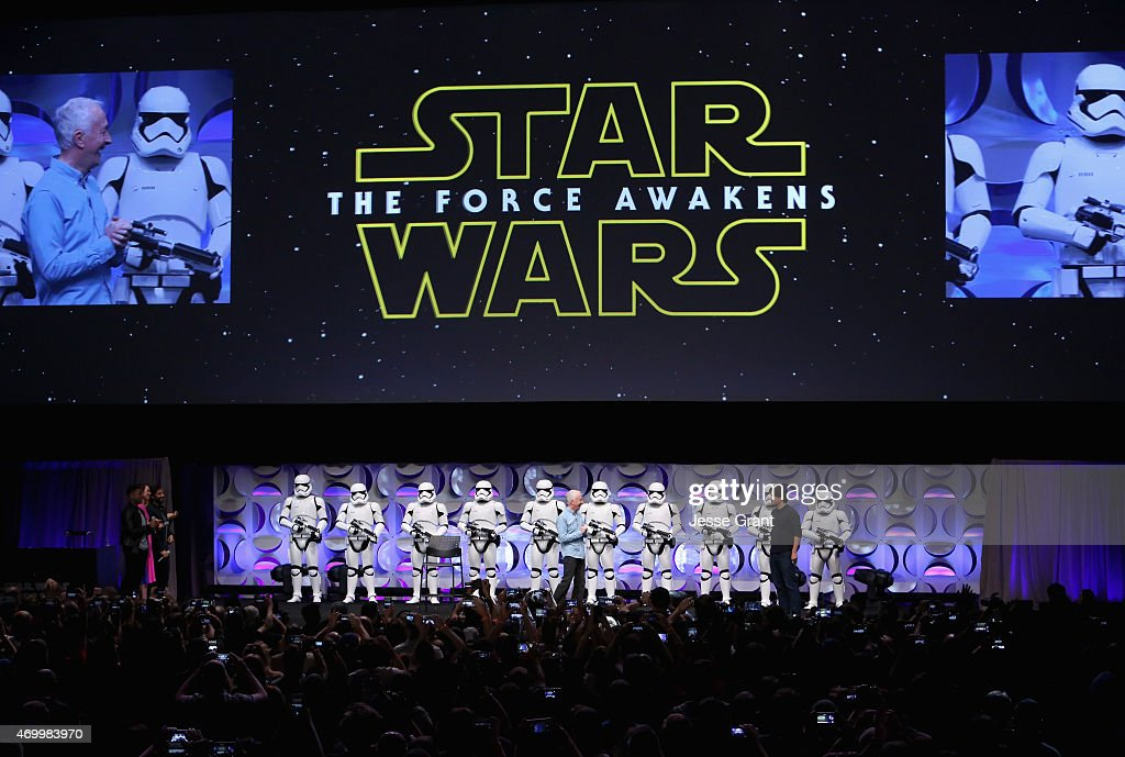 Actor Anthony Daniels (L) and moderator Anthony Breznican speak onstage during Star Wars Celebration 2015 on April 16, 2015 in Anaheim, California.
