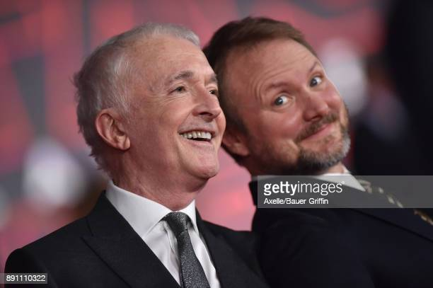 Actor Anthony Daniels and writer/director Rian Johnson attend the Los Angeles premiere of 'Star Wars The Last Jedi' at The Shrine Auditorium on...