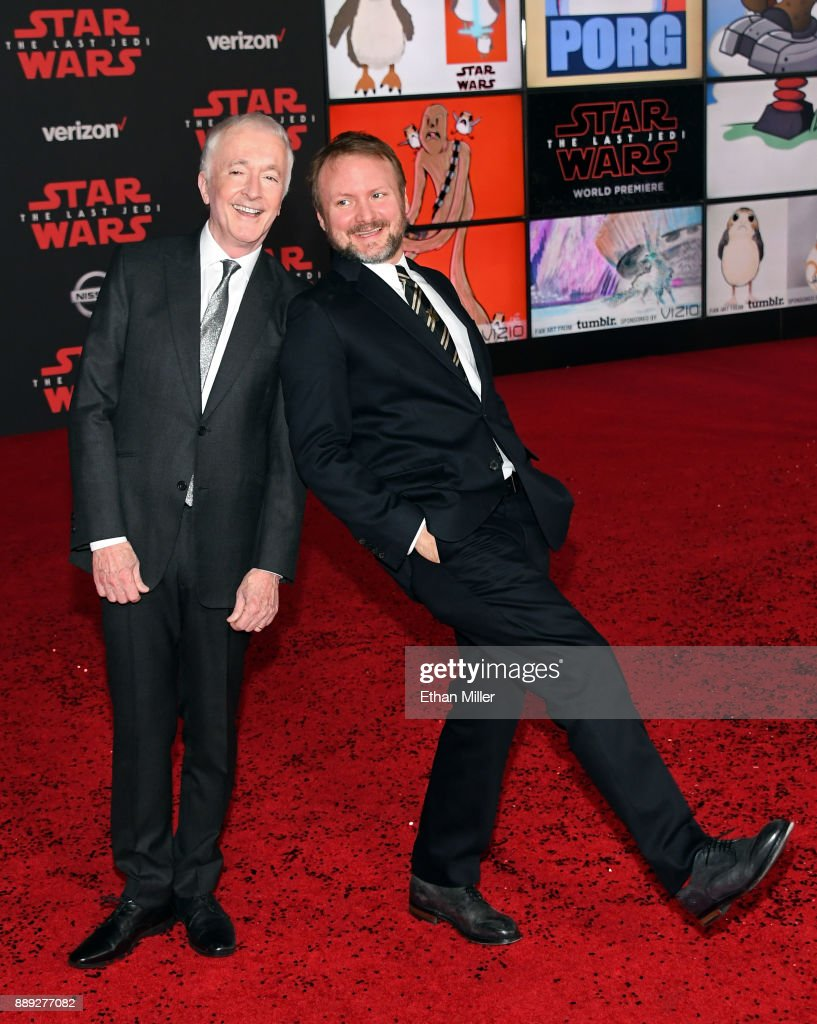 Actor Anthony Daniels (L) and writer/director Rian Johnson attend the premiere of Disney Pictures and Lucasfilm's 'Star Wars: The Last Jedi' at The Shrine Auditorium on December 9, 2017 in Los Angeles, California.