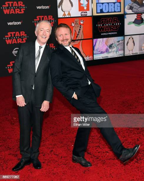 Actor Anthony Daniels and writer/director Rian Johnson attend the premiere of Disney Pictures and Lucasfilm's 'Star Wars The Last Jedi' at The Shrine...