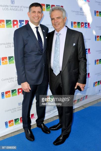 Actor Anthony Denison and Consul General of Israel Los Angeles Sam Grundwerg attend a private celebration of The 70th Anniversary of Israel hosted by...