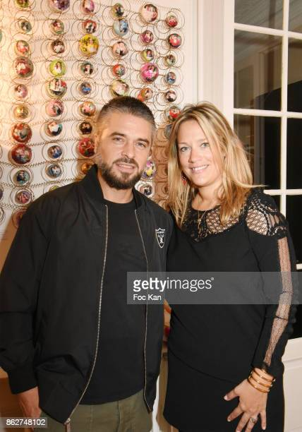 Actor Anthony Dupray and Caroline Faindtl attend the 'Love EtcÉ' Caroline Faindt Exhibition Preview at '28 Octobre Office' on October 17 2017 in...