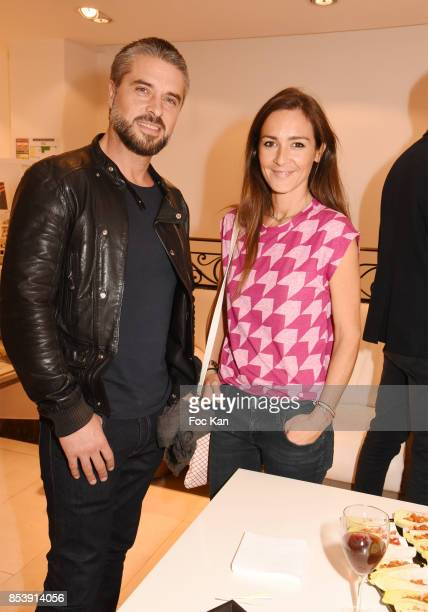 Actor Anthony Dupray and Emmanuelle Boiron attend Avellino Cocktail Party at Avellino Store Rue de Richelieu on September 25 2017 in Paris France