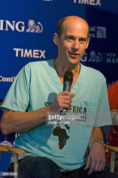 Actor Anthony Edwards attends the Shoe4Africa running team press conference before the 2009 New York City Marathon at Tavern On The Green on October...