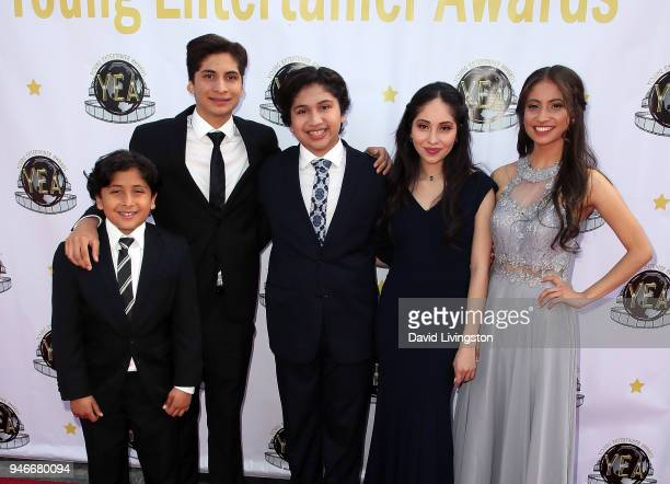Actor Anthony Gonzalez and family members attend the 3rd Annual Young Entertainer Awards at The Globe Theatre on April 15 2018 in Universal City...
