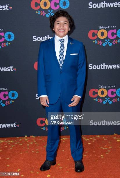 Actor Anthony Gonzalez attends the Disney Pixar's COCO premiere on November 8 in Hollywood California / AFP PHOTO / VALERIE MACON