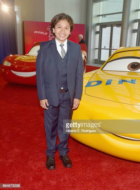 "Actor Anthony Gonzalez poses at the World Premiere of Disney/Pixar's ""Cars 3' at the Anaheim Convention Center on June 10 2017 in Anaheim California"