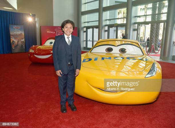 """Actor Anthony Gonzalez poses at the World Premiere of Disney/Pixar's """"Cars 3' at the Anaheim Convention Center on June 10 2017 in Anaheim California"""