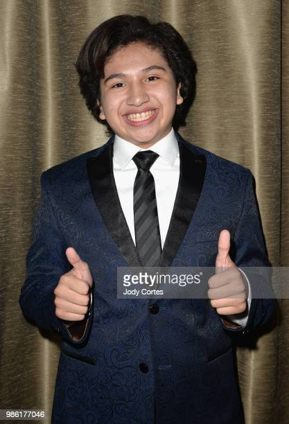 Actor Anthony Gonzalez poses backstage at the Academy Of Science Fiction Fantasy Horror Films' 44th Annual Saturn Awards held at The Castaway on June...