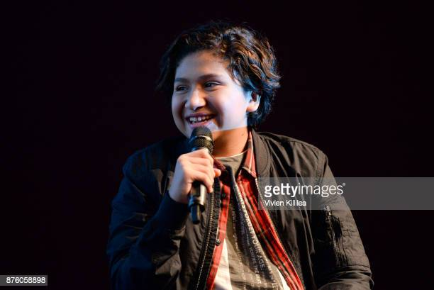 Actor Anthony Gonzalez speaks onstage during Pixar's 'COCO' screening and interview presented by Screenvision Media at Vulture Festival LA presented...