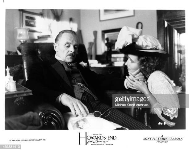 Actor Anthony Hopkins and actress Emma Thompson on set of the movie 'Howards End ' circa 1992