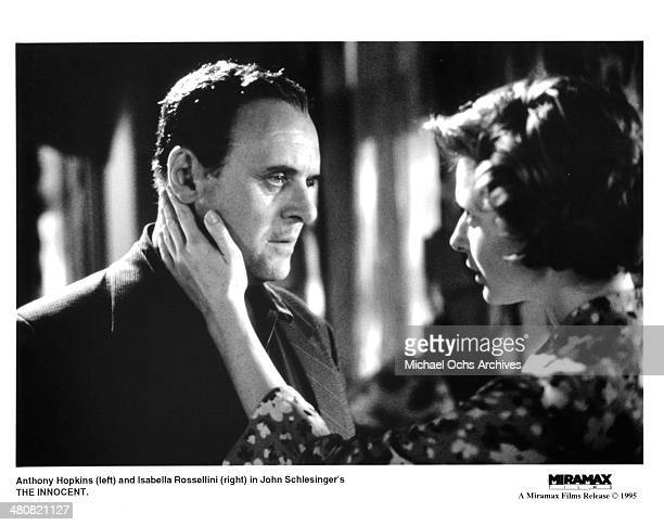 Actor Anthony Hopkins and actress Isabella Rossellini in a scene from the Miramax movie 'The Innocent' circa 1993