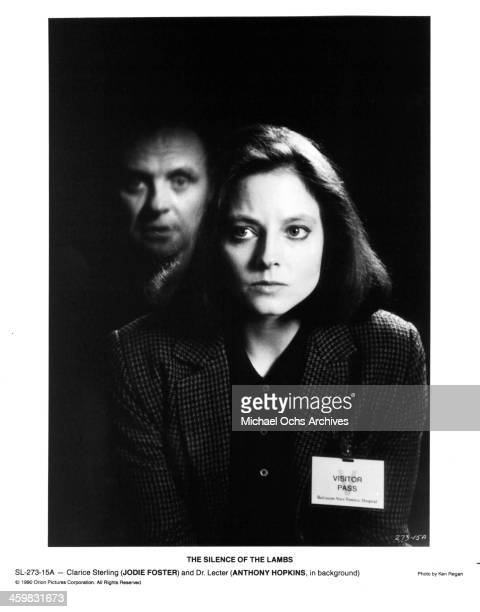 "Actor Anthony Hopkins and actress Jodie Foster on set of the movie "" The Silence of the Lambs "" , circa 1991."