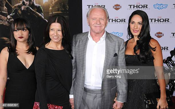 Actor Anthony Hopkins and his family arrive at the Los Angeles Premiere 'Thor The Dark World' on November 4 2013 at the El Capitan Theatre in...