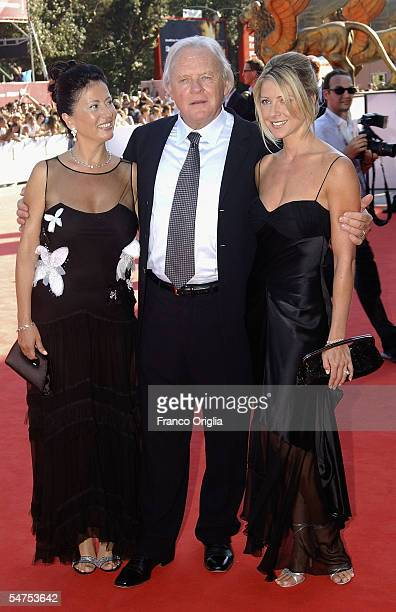 Actor Anthony Hopkins and his wife Stella Arroyave and actress Lisa Pepper arrive for the premiere for the film 'Proof' at the Palazzo del Cinema on...
