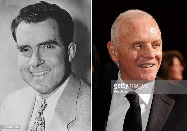 In this composite image a comparison has been made between Richard Nixon and Actor Anthony Hopkins Oscar hype begins this week with the announcement...